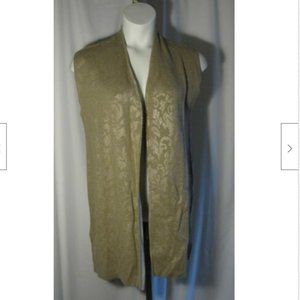 Chico's 1 Brown Gold Long Sweater Vest
